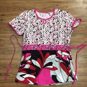 Koi Scrub Top Heart Floral Print Size Small Pink